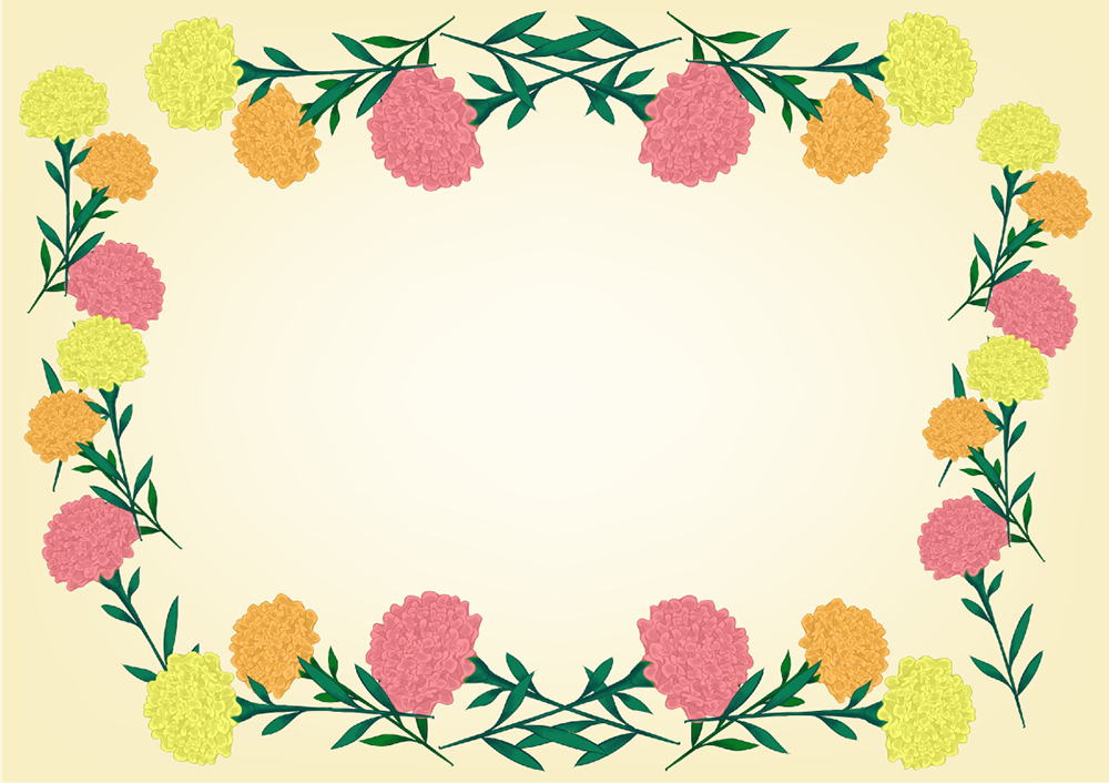 マリーゴールドの四角フレーム(背景あり1000×706)