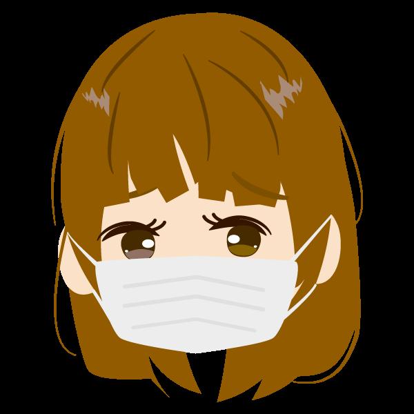 お母さんの顔アイコンイラスト(マスク)