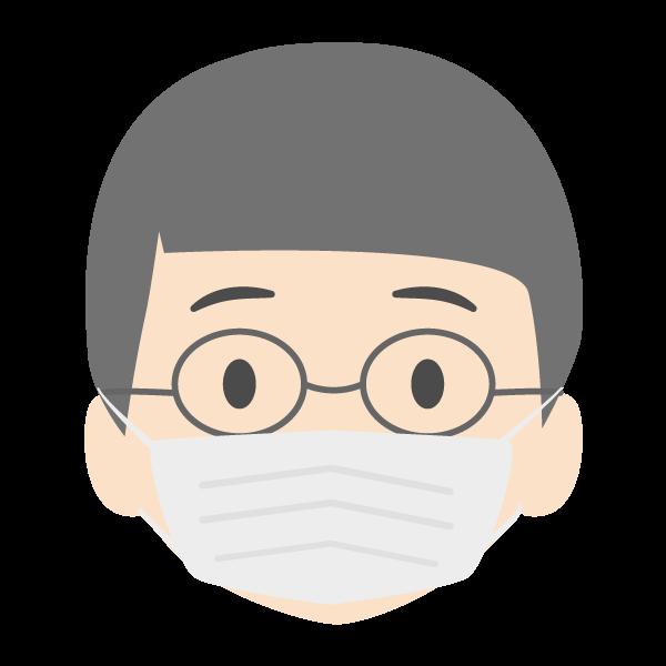 おじいちゃんの顔アイコンイラスト(マスク)