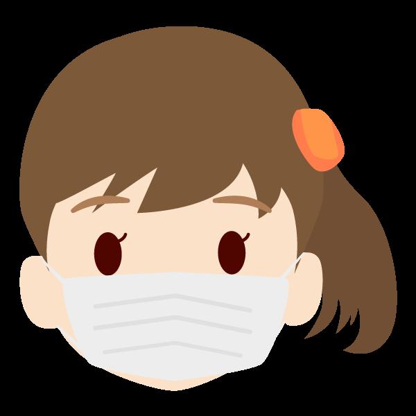 娘の顔アイコンイラスト(マスク)