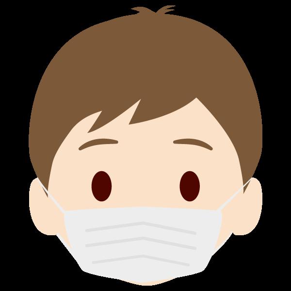 息子の顔アイコンイラスト(マスク)