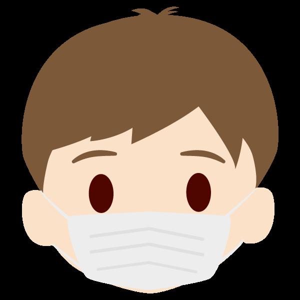 孫(男)の顔アイコンイラスト(マスク)