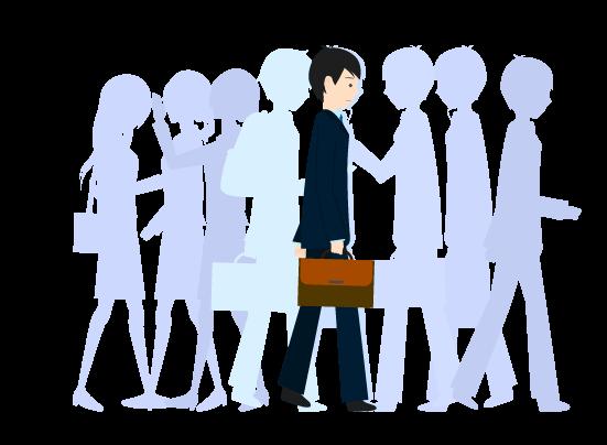 人混みを歩く男のイラスト