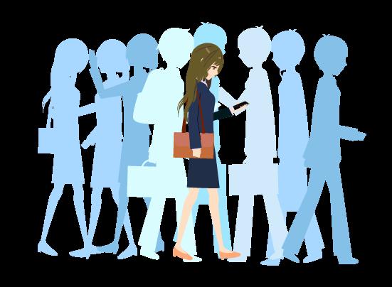 人混みを歩く女のイラスト