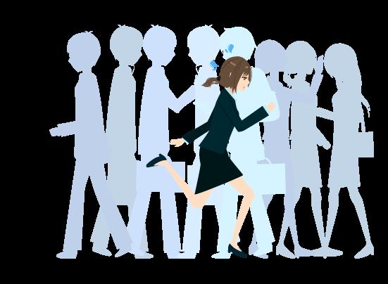 人混みを走る女のイラスト