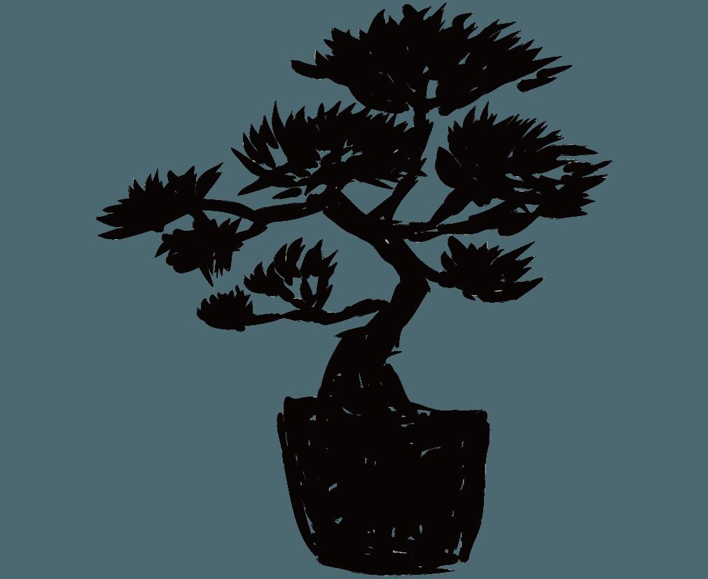 ラフな松の植木鉢のシルエットのイラスト