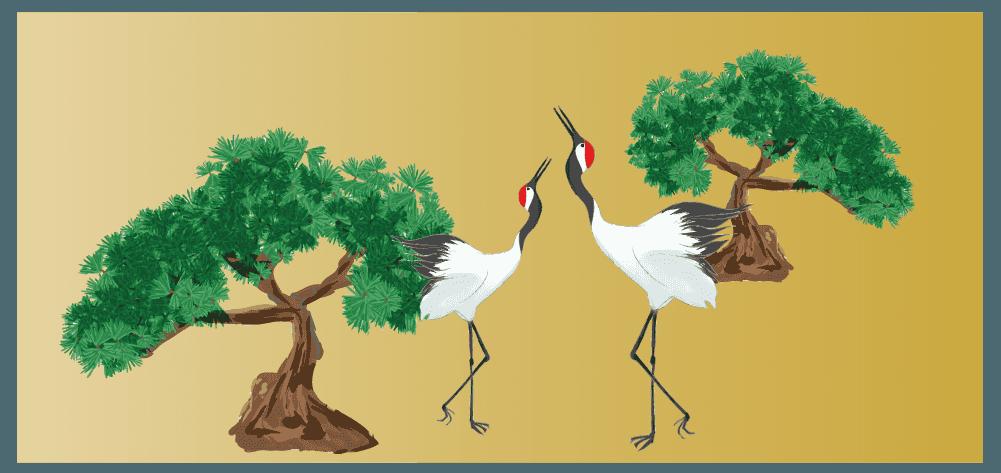 松と鶴の縁起の良いイラスト