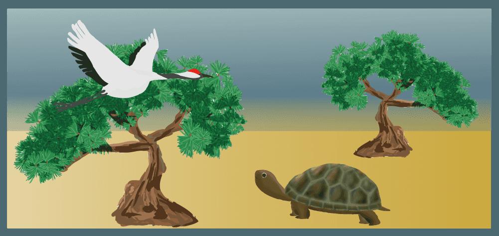 松と鶴と亀長寿なイラスト