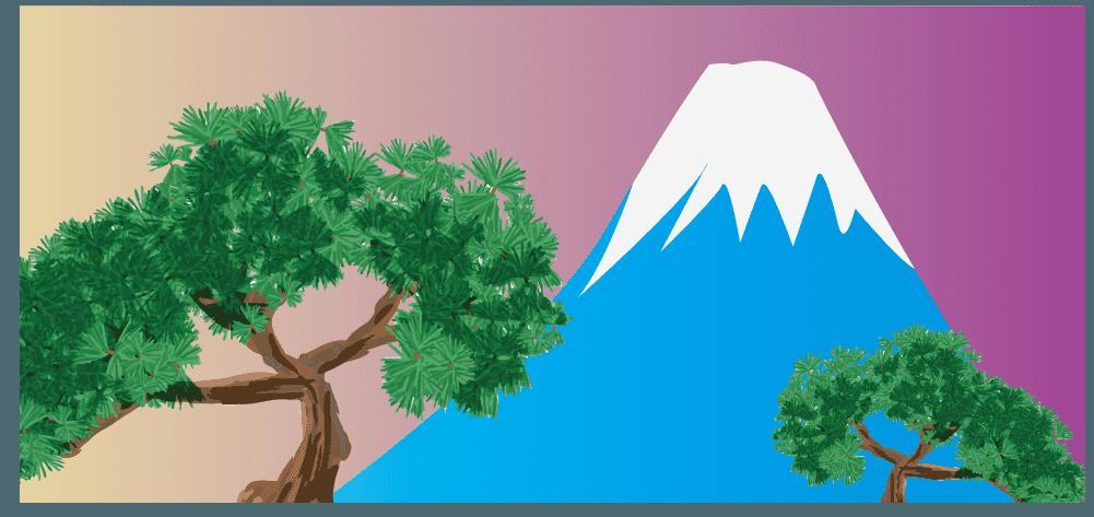 富士山と松のイラスト