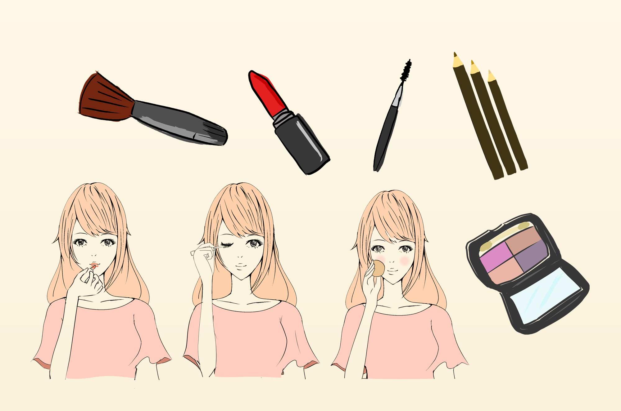メイクのイラスト 可愛いお化粧イメージの無料素材 チコデザ