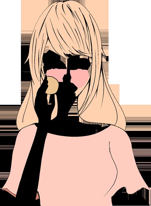 チークを塗る女性のイラスト