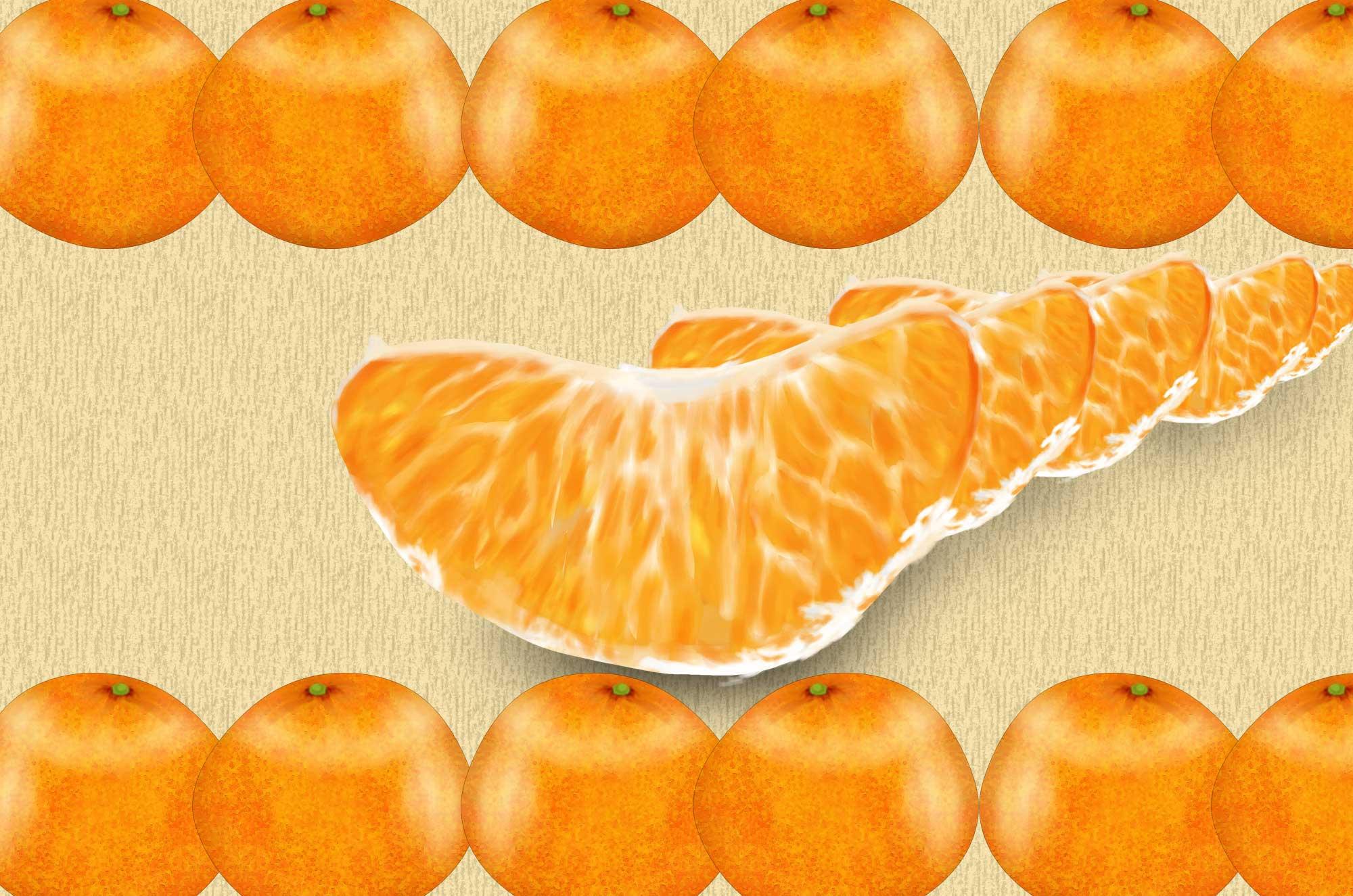 みかんイラスト - かわいい果物フリー素材リアルな実も - チコデザ