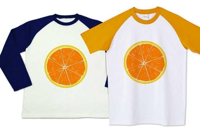 みかんラグランTシャツ袖オレンジと長袖