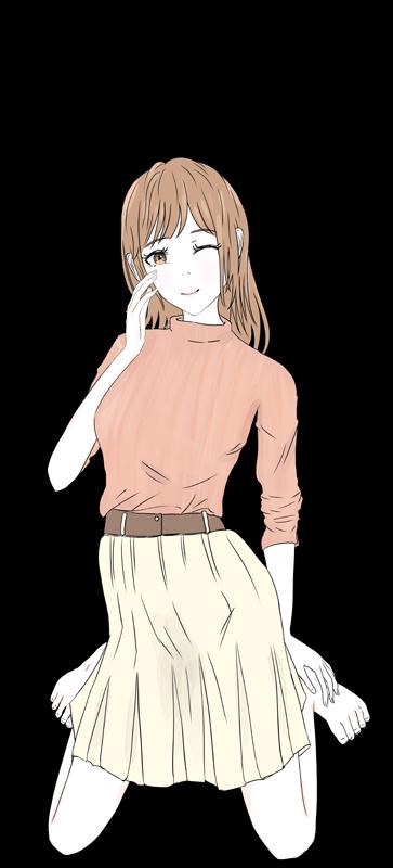 照れるかわいい女の子のイラスト