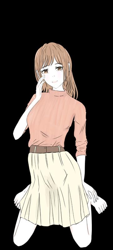 照れるかわいい女の子のイラスト2