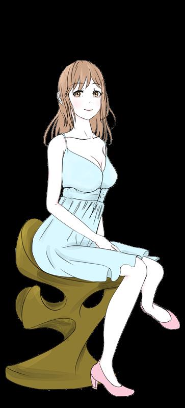 座るかわいい女の子のイラスト