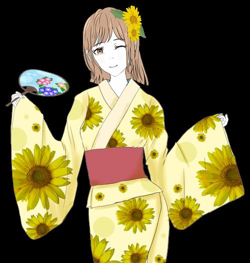 浴衣のミカちゃんのイラスト2