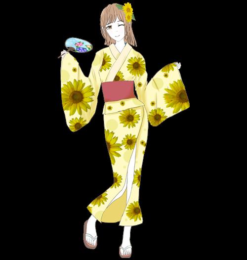 浴衣のミカちゃんのイラスト3