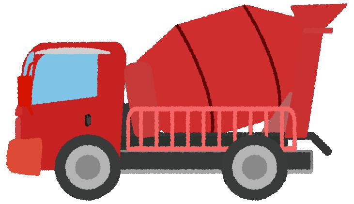 赤いミキサー車のイラスト