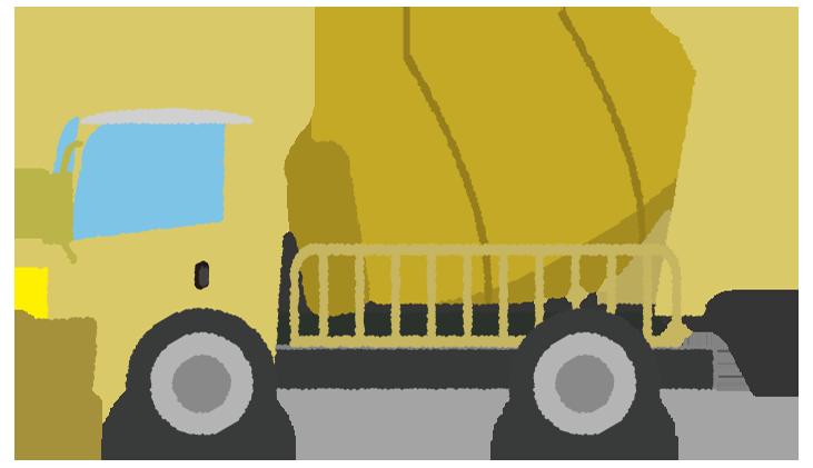 黄色いミキサー車のイラスト
