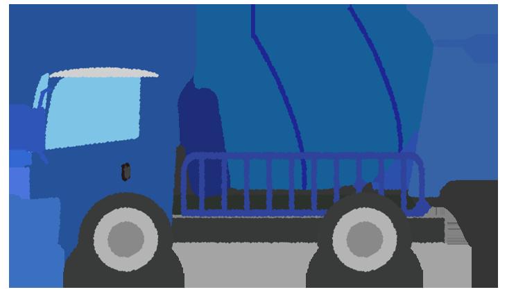 青いミキサー車のイラスト