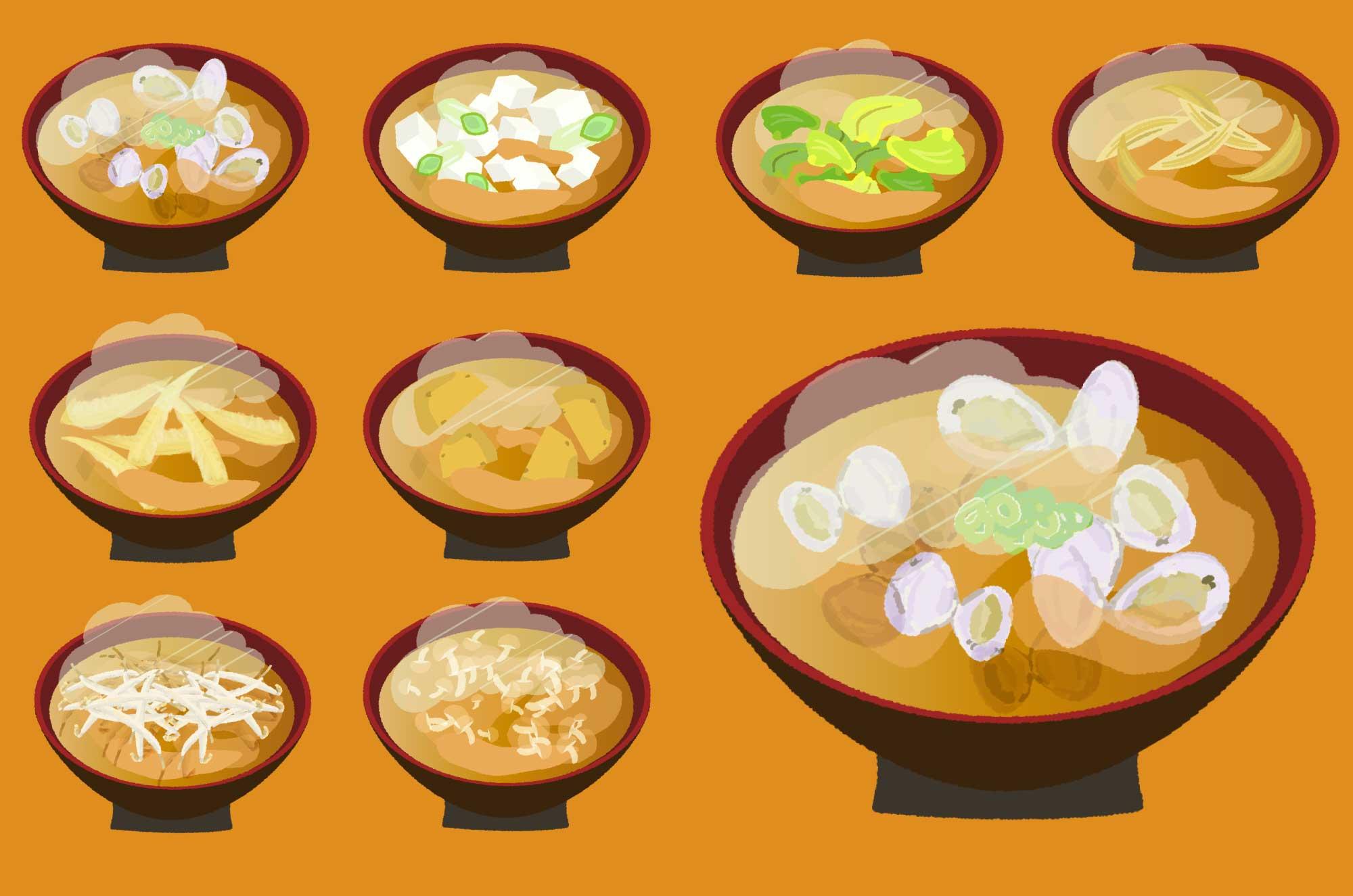 味噌汁のイラスト - 具・種類豊富な和食の無料素材