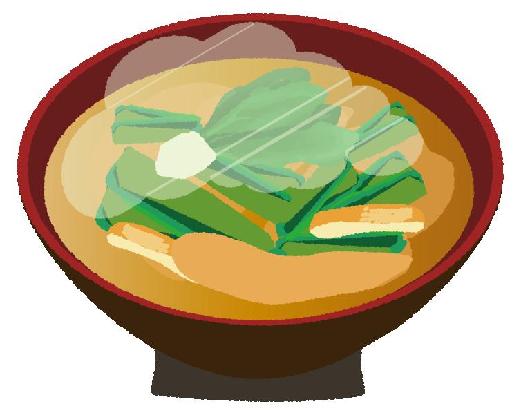 ほうれん草と揚げの味噌汁のイラスト
