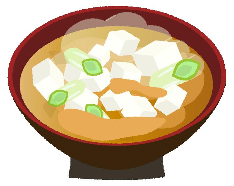 豆腐とネギの味噌汁のイラスト