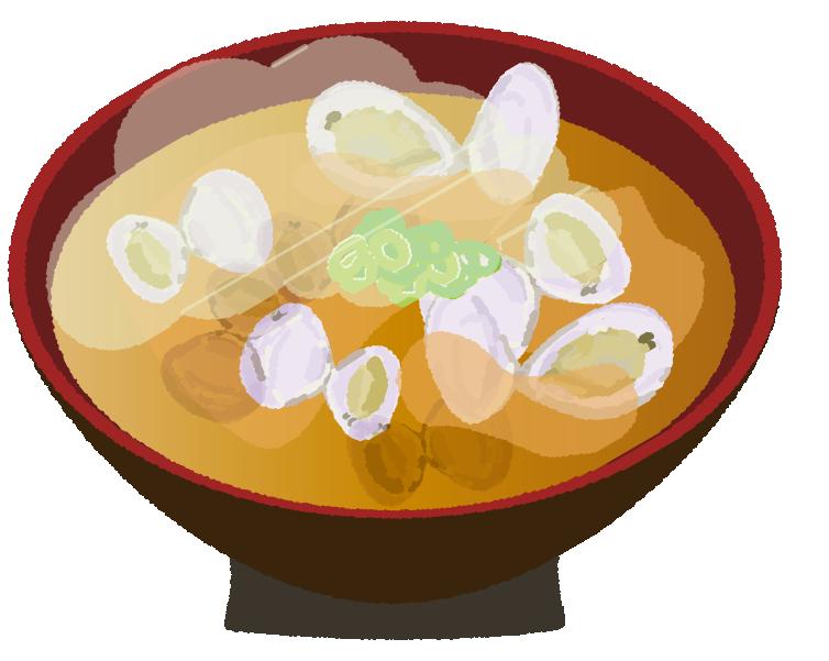 あさりの味噌汁のイラスト