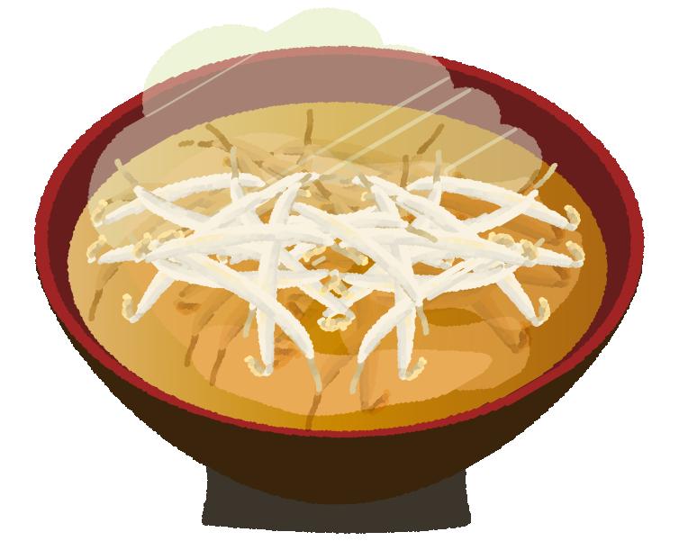 もやしの味噌汁のイラスト