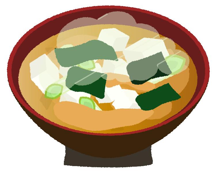 ワカメの味噌汁のイラスト