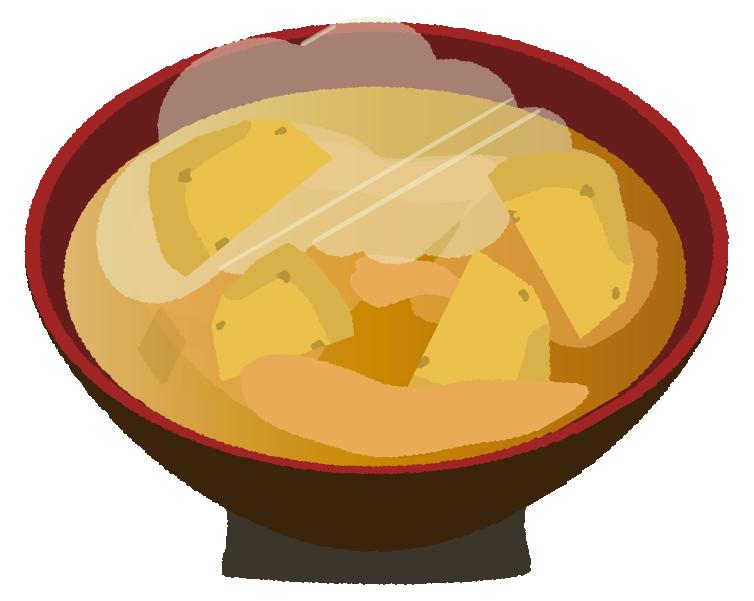 ジャガイモの味噌汁のイラスト
