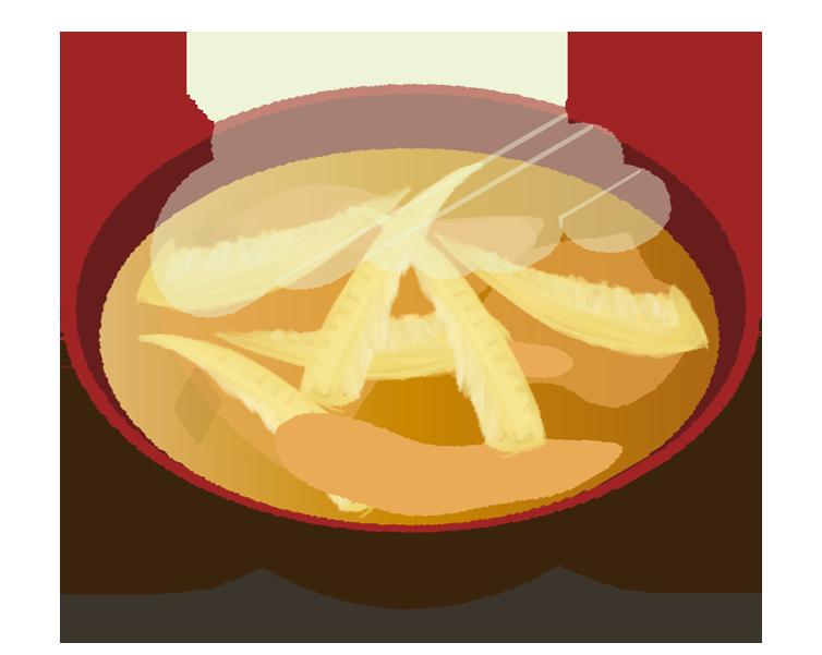 たけのこの味噌汁のイラスト