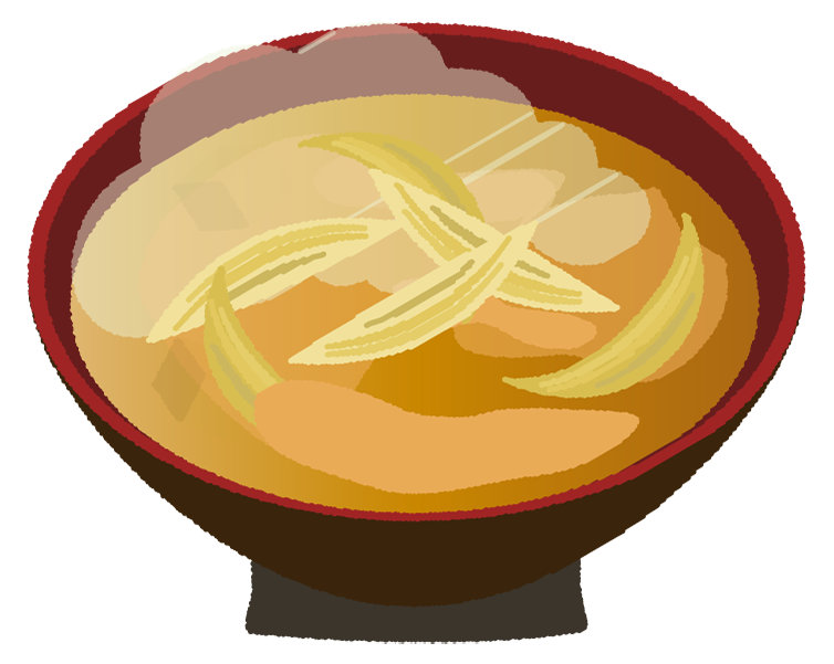 玉ねぎの味噌汁のイラスト