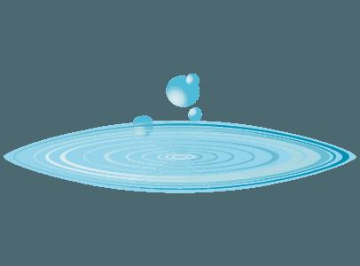 水滴と水面の波紋のイラスト