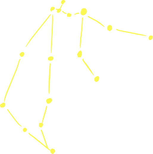 水瓶座のラフな星図イラスト