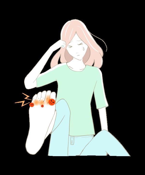水虫が痒くてたまらない女性のイラスト