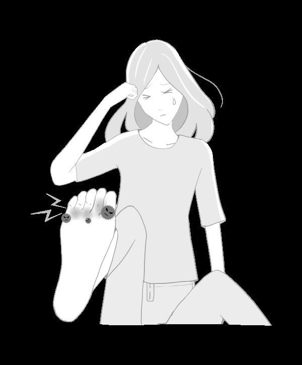 水虫の女性(白黒)のイラスト