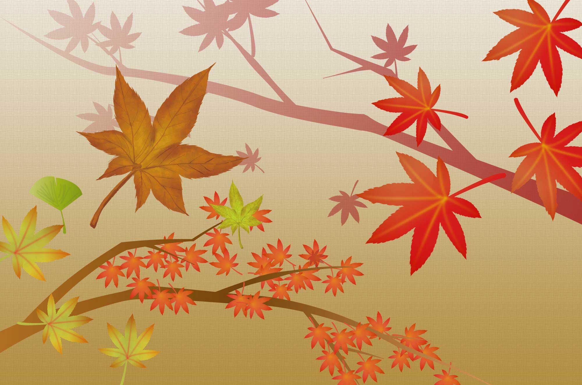 紅葉(もみじ)の無料イラスト - 秋の植物フリー素材 - チコデザ