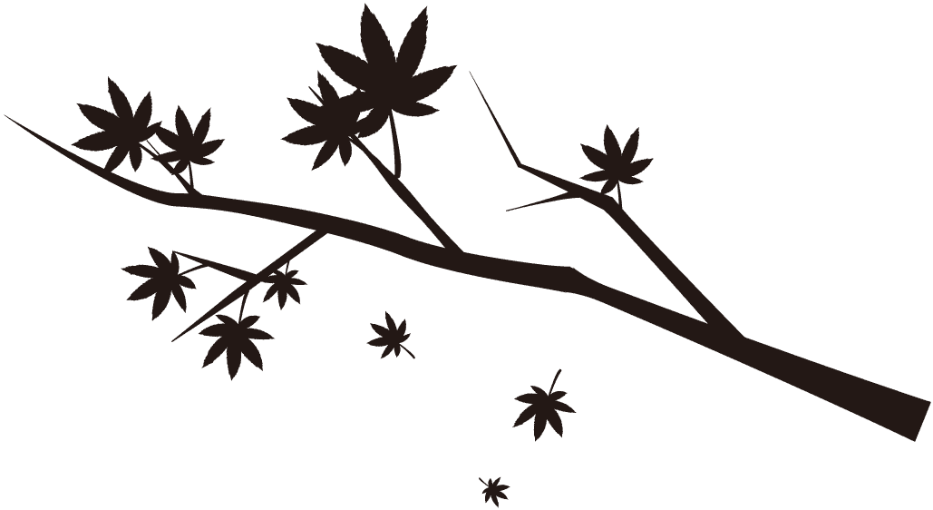 もみじの木と葉っぱのシルエット
