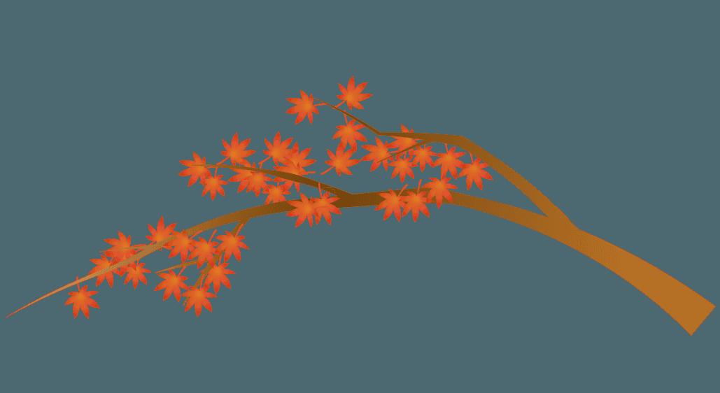もみじと木の秋の風景イラスト