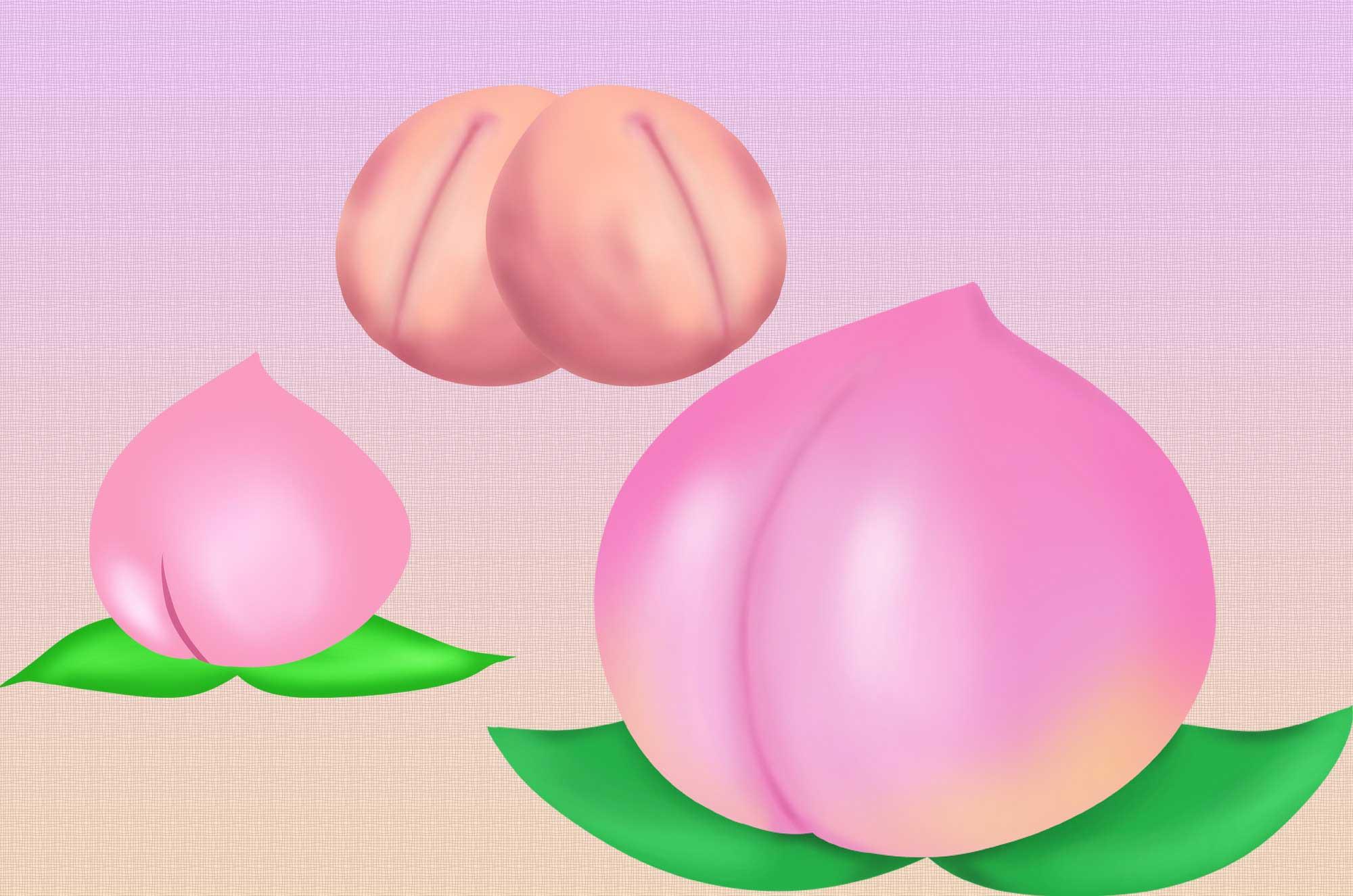 桃イラスト - かわいいプリプリのモモの無料素材集