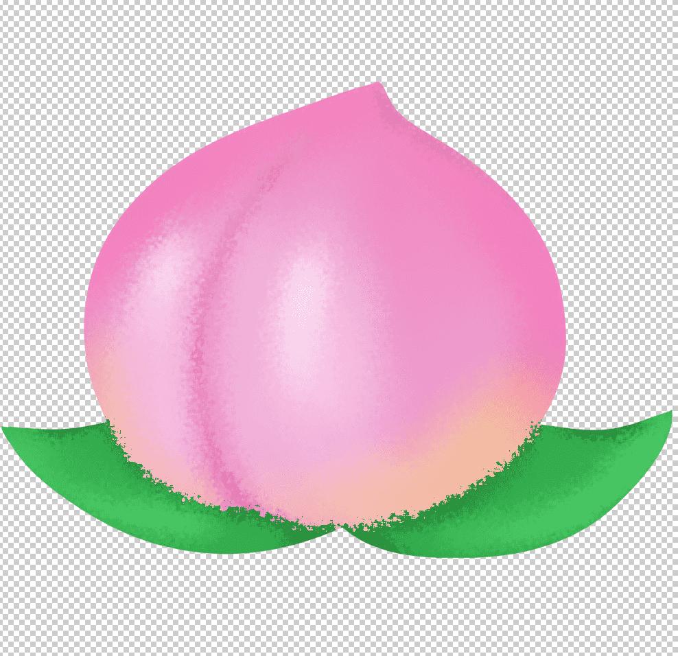 フィルタはねを適用した桃のイラスト