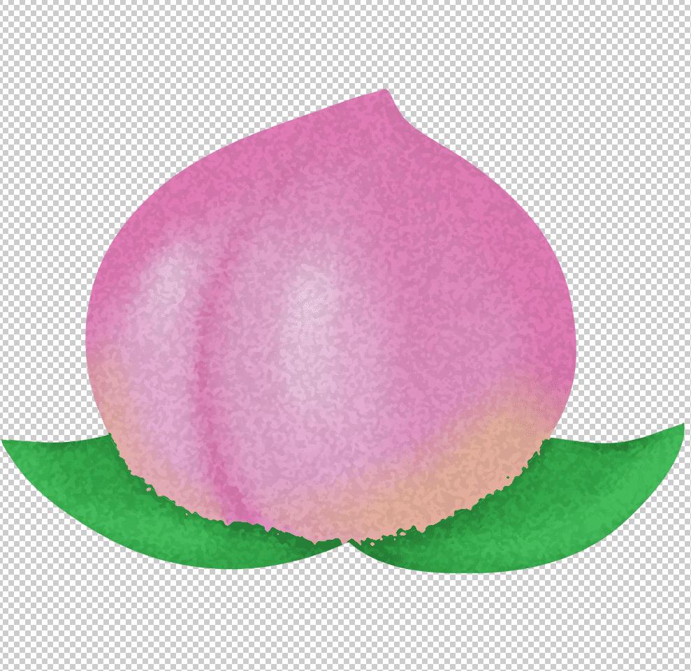 フィルターはねと、スポンジを適用させた桃のイラスト