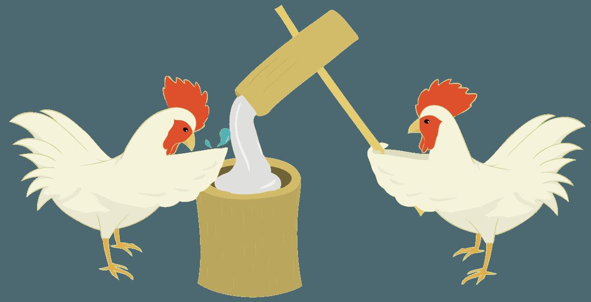 鶏が餅つきをしているイラスト