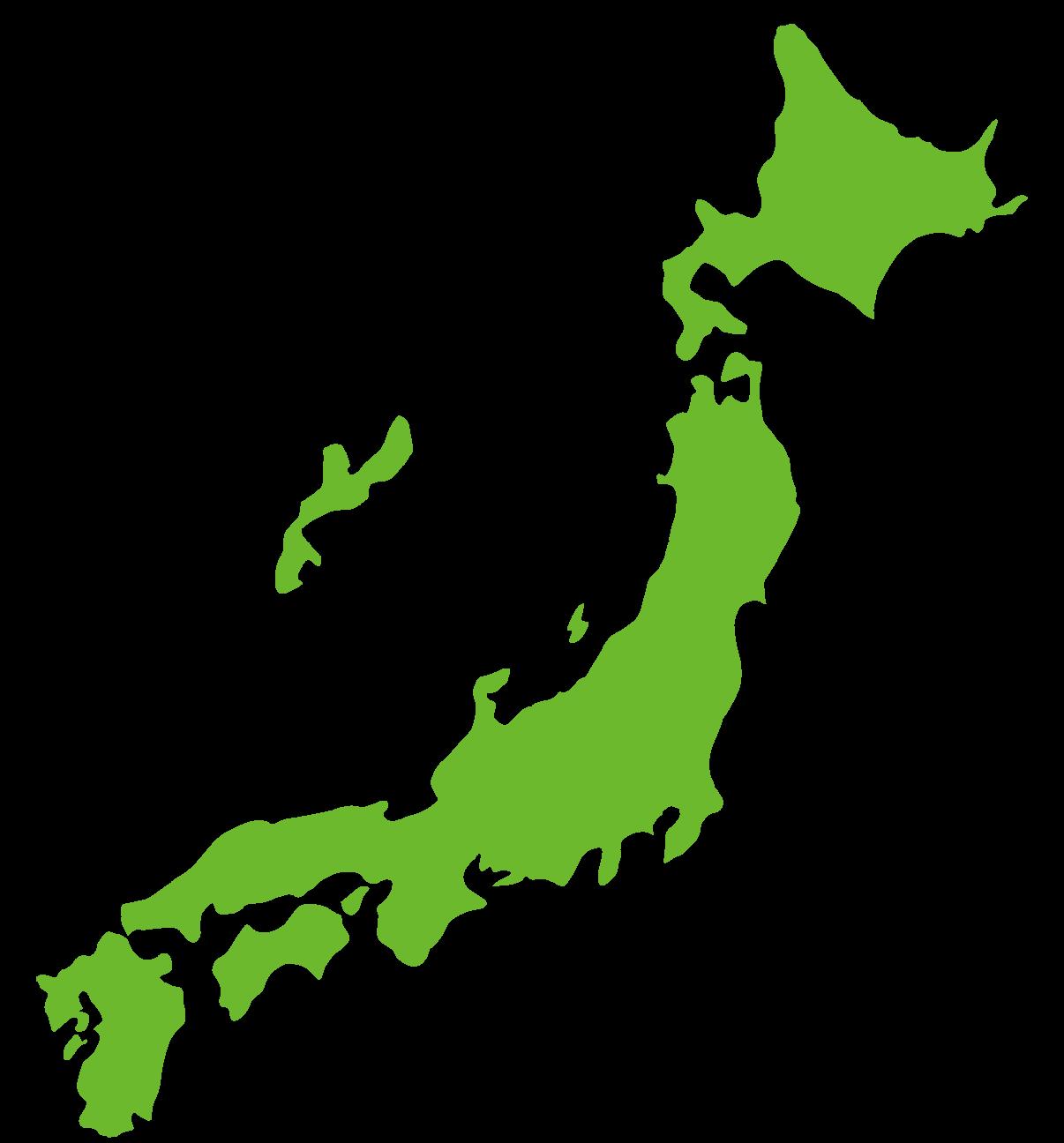 緑の日本地図のイラスト