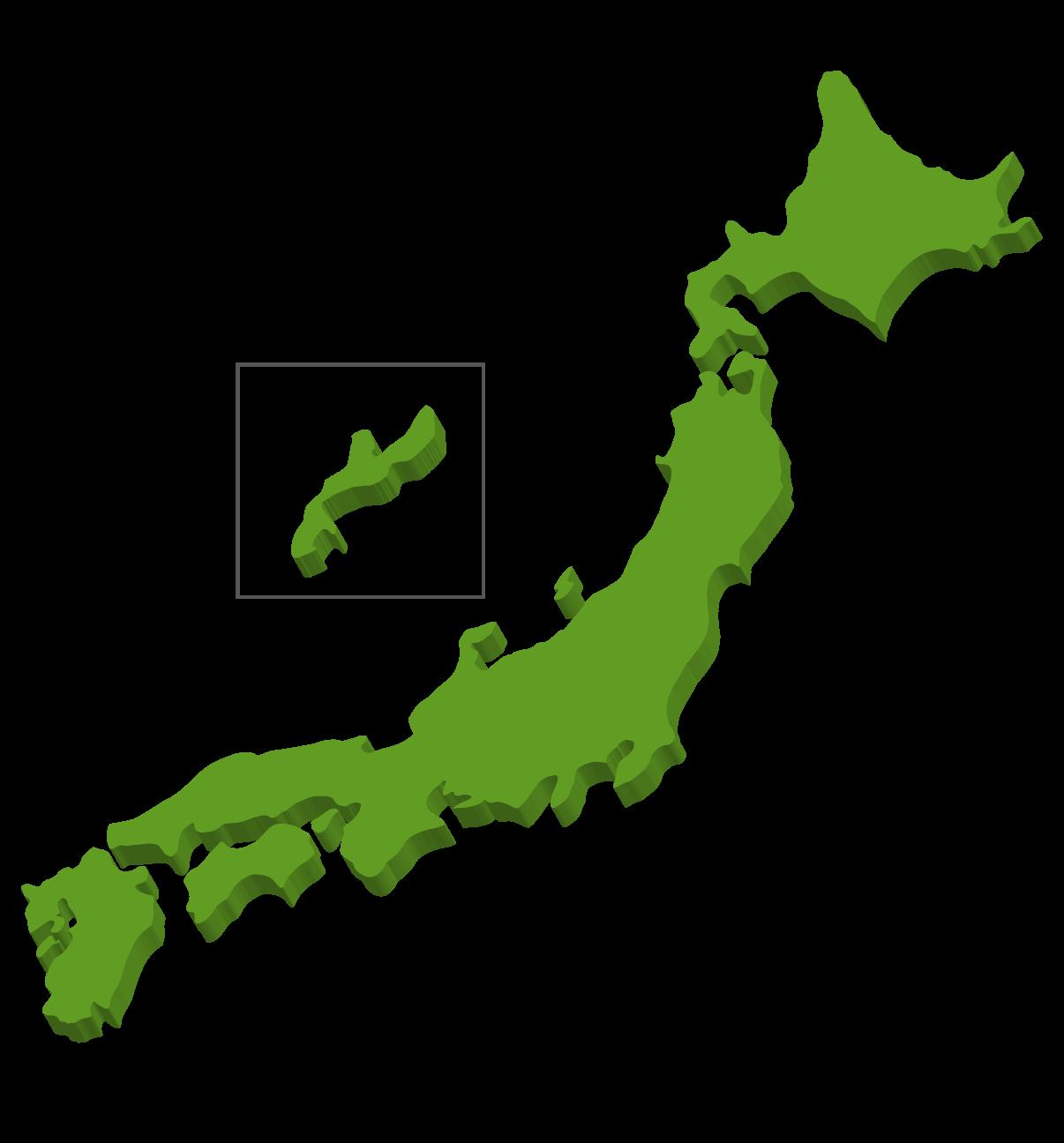 立体的な日本地図のイラスト