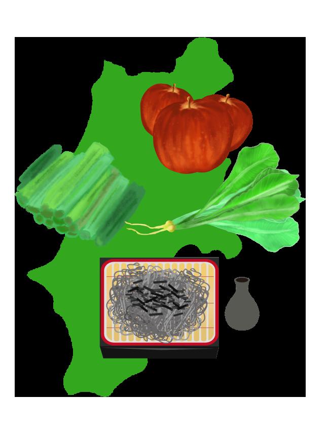 長野の名産そば、野沢菜、りんごと地図のイラスト