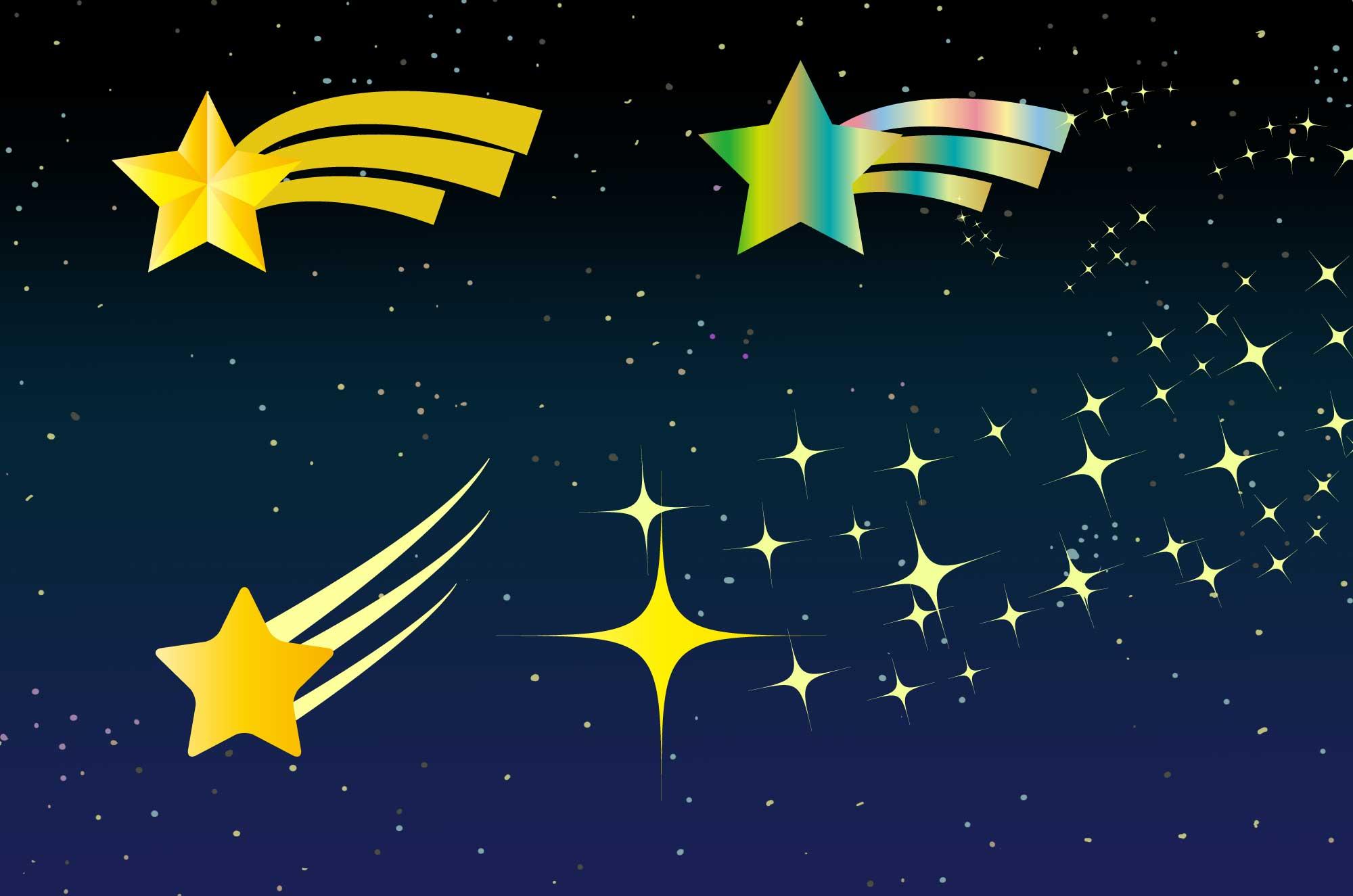 流れ星の無料イラスト - 可愛い・かっこいい星の素材