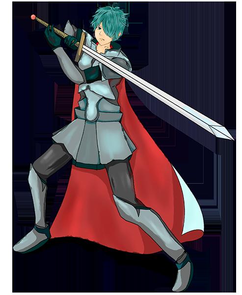 剣を繰り出そうとしているナイトのイラスト
